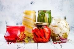 保存瓶子的用卤汁泡的腌汁品种 自创青豆,南瓜,萝卜,红萝卜,花椰菜腌汁 被发酵的食物 库存图片