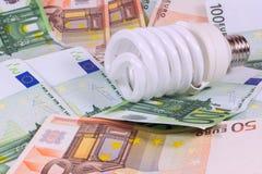 保存的节约金钱电灯泡 在金钱欧元背景的电灯泡 免版税库存图片