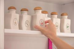 保存的香料瓶子 白色陶瓷瓶子 免版税库存图片