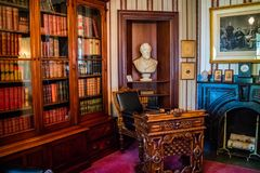 保存良好的州长豪宅在奥古斯塔,缅因 免版税库存照片