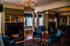 保存良好的州长豪宅在奥古斯塔,缅因 免版税库存图片