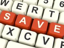 保存计算机键盘作为折扣或促进的标志 免版税库存照片