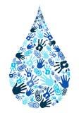 保存水变化手形状 皇族释放例证