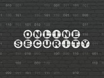 保密性概念:在墙壁上的网上安全 库存照片
