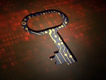 保密性概念:在数字式屏幕背景的钥匙 库存照片