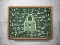 保密性概念:在校务委员会的闭合的挂锁 库存照片