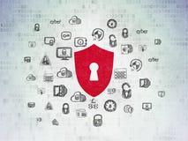 保密性概念:有匙孔的盾在数字资料裱糊背景 皇族释放例证