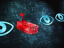 保密性概念:照相机和眼睛在数字式背景 免版税图库摄影