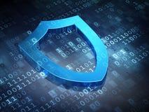 保密性概念:蓝色在数字式塑造外形的盾