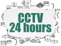 保密性概念:CCTV在被撕毁的纸的24个小时 免版税库存图片