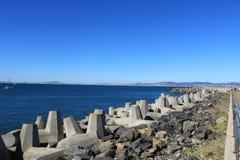 保护免受上升的海在开普敦,南非成水平 库存图片