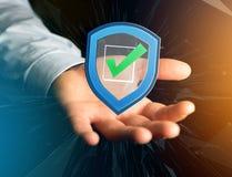 保护在一个未来派接口显示的标志-安全和 库存图片