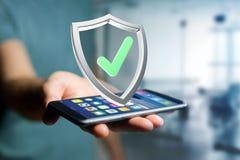 保护在一个未来派接口显示的标志- 3d翻译 免版税库存图片