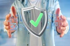 保护在一个未来派接口显示的标志- 3d翻译 免版税库存照片