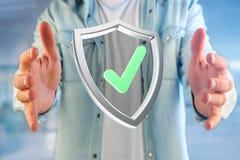 保护在一个未来派接口显示的标志- 3d翻译 库存照片