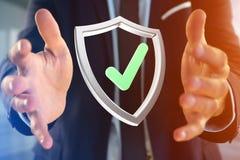 保护在一个未来派接口显示的标志- 3d翻译 免版税图库摄影