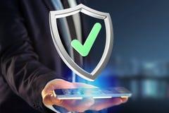 保护在一个未来派接口显示的标志- 3d翻译 库存图片