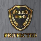 保护概念的优质盾卫兵标签商标设计 库存图片