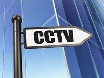 保护概念:在大厦背景的标志CCTV 库存图片
