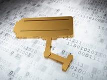 保护概念:在数字式背景的金黄Cctv照相机 免版税库存图片