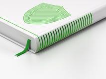 保护概念:闭合的书籍,在白色的盾 免版税库存图片