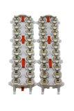 保护的电机设备起因于在白色隔绝的雷闪放电 库存照片