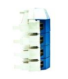 保护的电机设备起因于在白色隔绝的雷闪放电 库存图片
