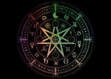 保护的Wiccan标志 设置坛场巫婆诗歌,神秘的威卡教占卜 五颜六色的古老隐密标志,地球黄道带 向量例证