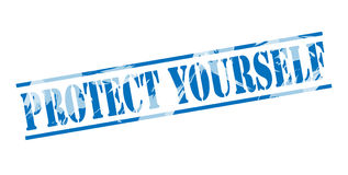 保护自己蓝色邮票 免版税库存图片