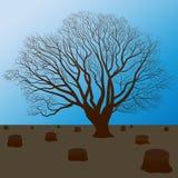 保护自然,切开树剪影 库存例证