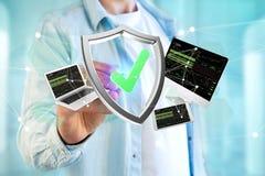 保护设备围拢的在f显示的标志和网络 免版税库存照片