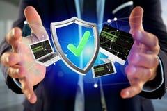 保护设备围拢的在f显示的标志和网络 免版税图库摄影