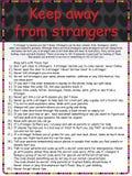 保持远离陌生人海报 免版税库存照片