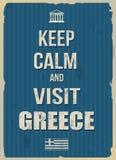 保持镇静和参观希腊减速火箭的海报 免版税库存图片
