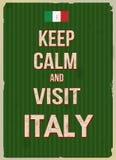 保持镇静和参观意大利减速火箭的海报 免版税库存照片