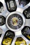 保时捷商标在轮子的 免版税图库摄影