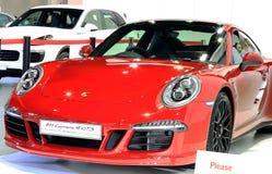 保时捷红色豪华跑车系列911 carrera 4GTS 免版税库存图片