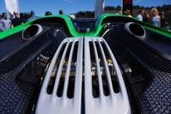 保时捷918 Spyder特写镜头 免版税图库摄影