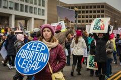 保留堕胎法律-妇女3月-华盛顿特区 免版税库存图片