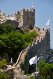保留塔和摩尔人城堡长的悬墙  辛特拉 Por 免版税库存图片