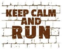 保留安静和奔跑,在风格化砖墙打印的诱导电话 您的设计的织地不很细题字 向量 向量例证