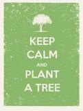 保留安静并且种植树Eco友好的海报 是在被回收的纸背景的绿色传染媒介概念 免版税库存照片