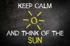 保留安静并且认为在委员会的太阳概念 库存照片