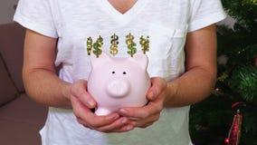 保留有美元的符号概念的妇女桃红色存钱罐 影视素材