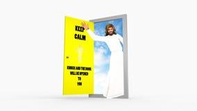 保留镇静敲门耶稣基督挥动的例证 免版税库存照片