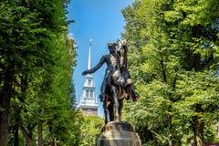 保罗・雷韦雷雕象在波士顿,马萨诸塞 免版税库存照片