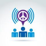 保重关于和平的社会事务和组织, v 库存图片