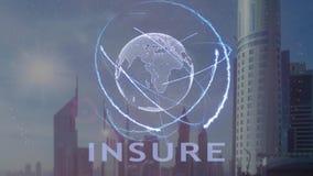 保险与3d行星地球的全息图的文本反对现代大都会的背景 影视素材