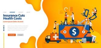 保险削减健康成本 用巨型剪刀切开的金钱 传染媒介例证概念可以是登陆的页,模板,ui用途 库存例证