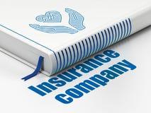 保险概念:预定Heart和Palm,在白色背景的Insurance Company 库存照片
